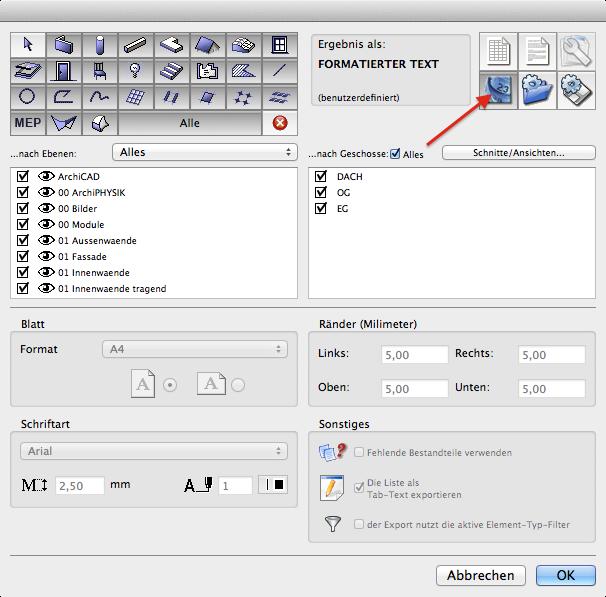Export ArchiQuant Dateiformat wählen