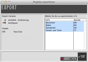 CAD Datentausch mit Projekt Export ArchiAVA