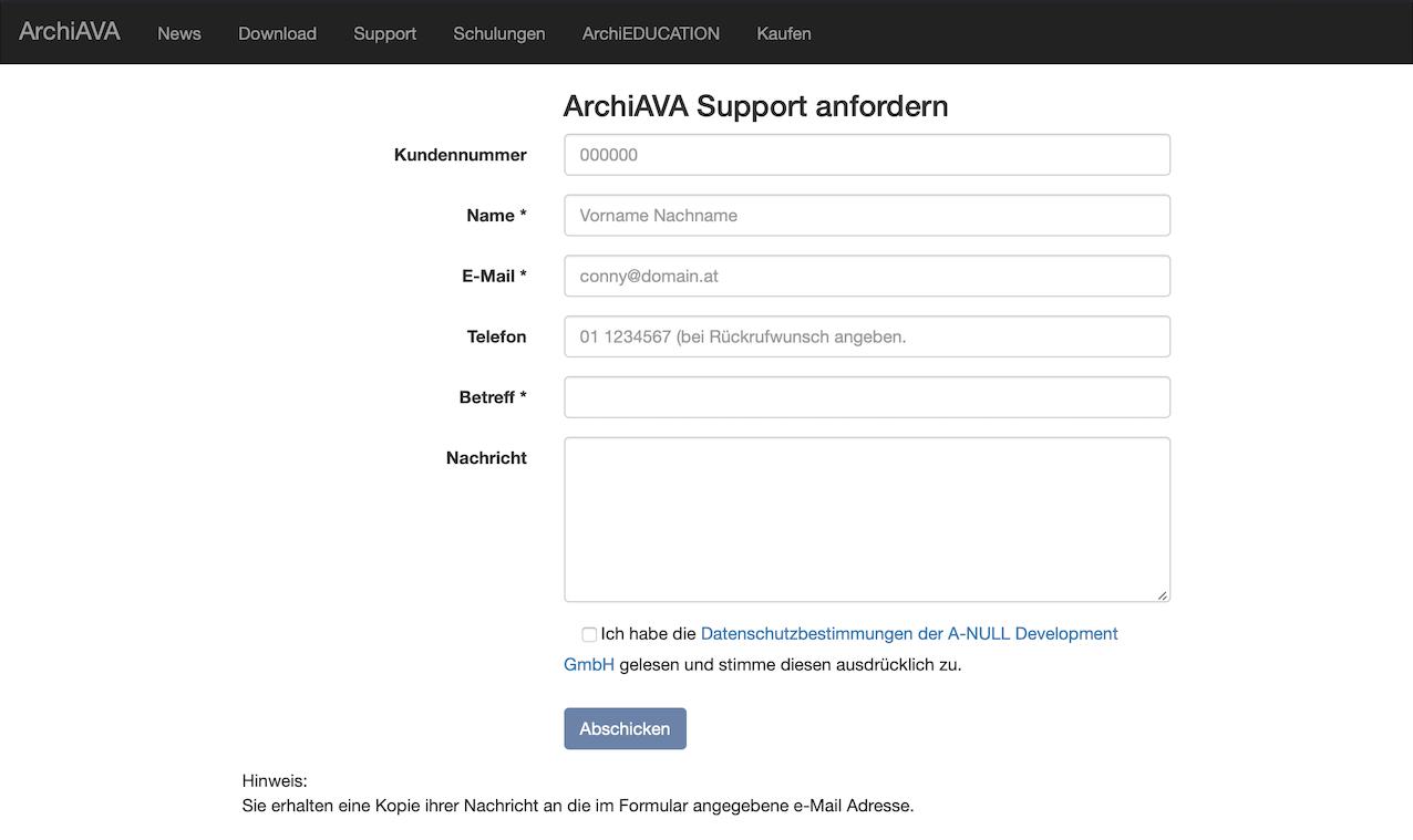 Supportanfrage zu ArchiAVA auf der Website stellen